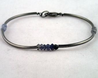 Four Corners Bracelet In Iolite - handmade to order in NYC
