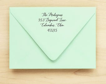 Custom Calligraphy Address Stamp / Return Address Stamp / Self Inking Return Address Stamp - MANUSCRIPT DESIGN - Housewarming Gift