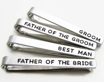 Personalized Tie Clips (set of 4) Groom Father of the Bride and Groom Bestman - Stamped Metal Tie Bars Personalized Wedding Party Gift (001)