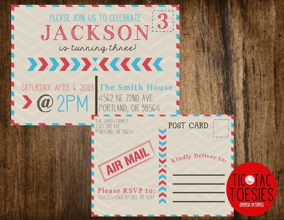 Postal Style Birthday Postcard front and back(BIRTHDAY INVITATION)