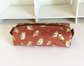 Long box pouch - Owl in brown