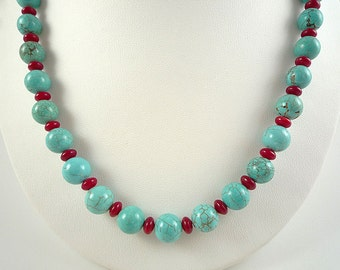 Turquoise Coral Necklace Turquoise Red Coral Necklace Turquoise Gemstone Necklace Red Coral Turquoise Bead Necklace Turquoise Coral Strand