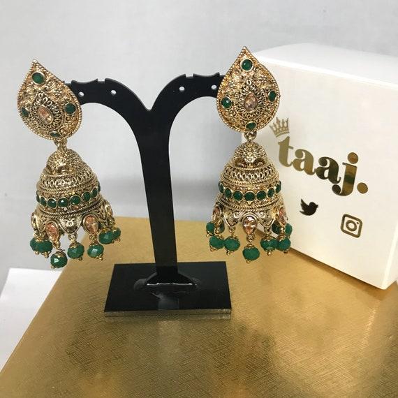 Daliah Gold zirconia & green jhumka earrings indian bridal Pakistani bead jewellery