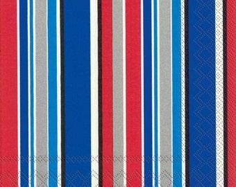 Patriotic NAPKINS, Red White Blue Napkins, Graduation Napkins, Striped Napkins, All Occasion Napkins, Chelsea Stripe Blue, IHR Napkins