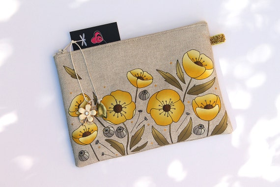 """""""Yellow and gold poppies"""" featuring natural linen pouch"""