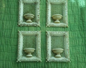 Antique Ivorine French Ivory Celluloid Wall Pocket Vase Holy Water Font