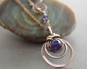 Copper necklace with woven round pendant and amethyst stone on chain and decorative clasp - Gemstone necklace - Pendant necklace - NK009