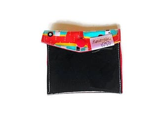 Card holder for gift card, business, credit, rolled fabric storage pouch, black, red, aqua, red polkadot westfalia