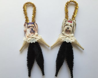 YORKSHIRE TERRIER ornaments dog ORNAMENTS Yorkie ornaments vintage style chenille ornaments set of 2