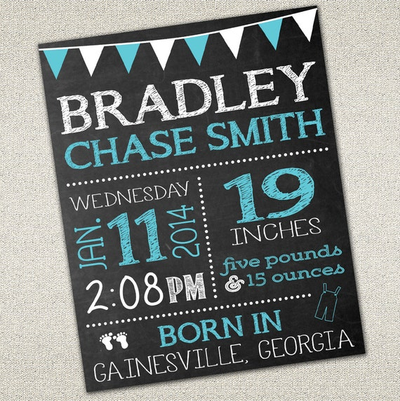 baby birth announcement sign photo prop chalkboard sign