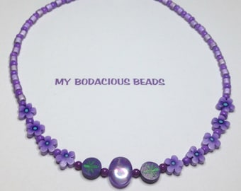 "Handmade Girl's 16"" Purple Posy Floral Beaded NECKLACE  Magnetic closure"