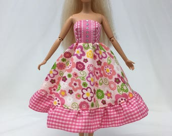 """Spring Doll Dress-11.5"""" Doll Clothes-Pink Floral Doll Dress-Flower Dress-Spring Flower Dress-Whimsical Dress-Girls Birthday Gifts-Toys"""