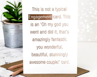 Engagement Card; Gold Foil Engagement Card; Rose Gold Foil; Card For Couple; Just Engaged; Getting Hitched; Newly Engaged; GC379