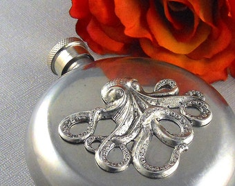 Octopus Flask, Silver Flask, Nautical Steampunk Flask, Vintage Inspired Gothic, Steel Flask, 5 Oz Flask