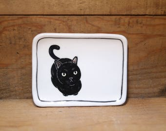 Hand made & animal painted Versatile dish - Soap Dish - Jewelry Dish - Ceramic Dish - Cat Dish - Cute Cat - black cat