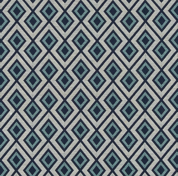 Light Blue Woven Upholstery Fabric Grey Blue Geometric