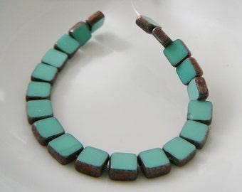 Czech Glass Beads, Opaque Turquoise Blue mini strand 6 x 6 window beading supplies