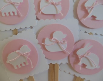 Rabbit, Duck and Sheep Cupcake Toppers - Light Pink and White - Girl Baby Shower Decorations - Girl Birthday Party Decorations - Set of 6