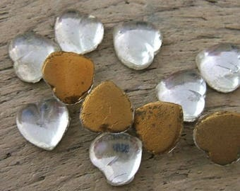 11 Vintage 7mm Clear Flat Backed Glass Heart Cabochons