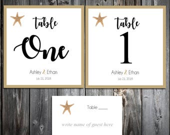 10 Beach Starfish Table Numbers and 100 place settings