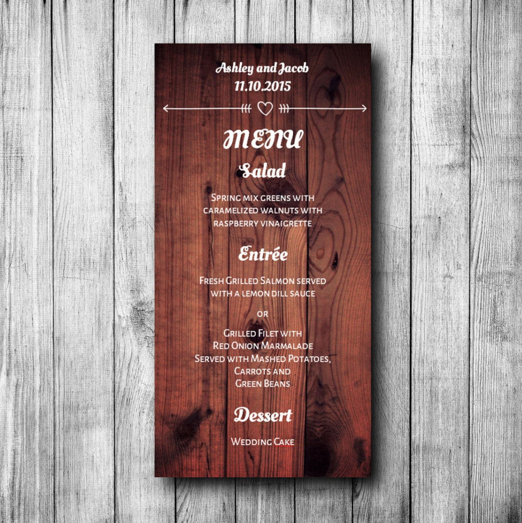 Rustic menu wedding Printable menu card Wood wedding menu