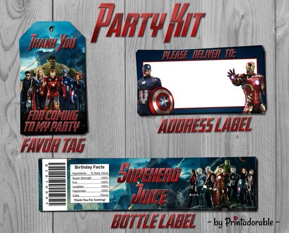 Avengers Party Set - Avengers Party Kit - Iron Man Party Kit - Iron Man Party Set - Captain America Kit - Avengers Printables - Avengers Tag