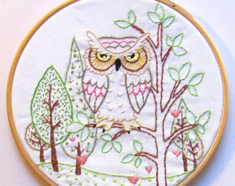 Heart Tree Owl - PDF Hand Embroidery Pattern