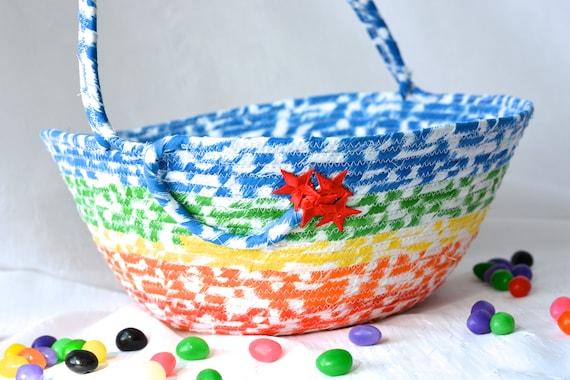 Boy Easter Basket, Handmade Child's Basket, Easter Decoration, Artisan Quilted Organizer, Boy Easter Bucket, Toy Bucket Storage