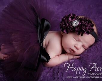 PLUM PRINCESS....newborn tutu, baby tutu with vintage headband, newborn photography prop.....plum tutu, purple tutu