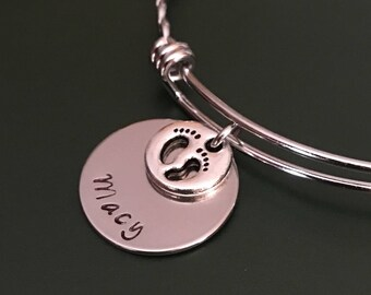Baby feet bangle,Name bracelet,Silver bangle,Baby feet charm,Personalized jewelry,Bracelets for women,Gift for her,Jewelry,Bracelets,Gift