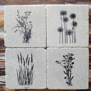 Field Plants Stone Coaster Set, Plant Coasters, Dandelions, Grass, Flowers and Plants Coasters, Garden Enthusiast Gift, Nature Coasters