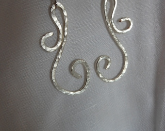 Wirework Hammered Silver plated Earrings