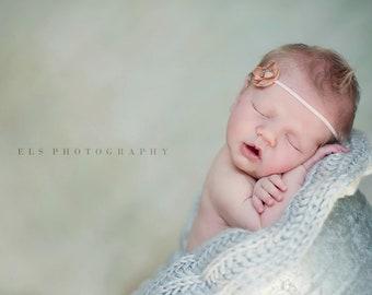 Petite Vintage Caramel OR CHOOSE COLOR - Light Brown Flower Headband - Beads Sequins - Skinny Pink Headband - Baby Newborn Girls Adults