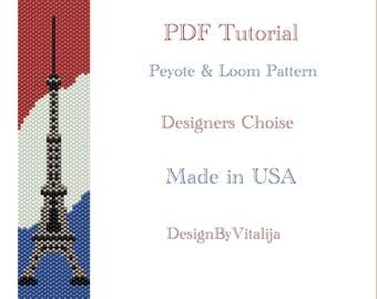 Instant Download Beading Pattern Peyote Stitch Pattern Eiffel Tower Seed Bead Cuff