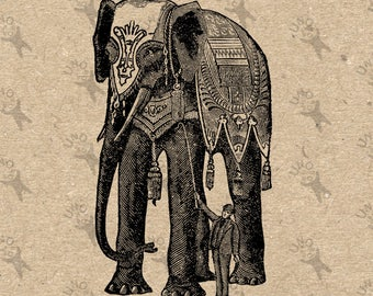 Vintage image Elephant Circus picture Instant Download printable clipart digital graphic for fabric transfer, t-shirts, bags etc HQ 300dpi