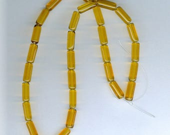 Yellow Glass Tubes, 4mm x 10mm Yellow Amber Glass Tube Spacer Beads