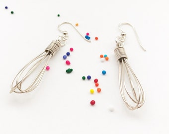 Argentium Sterling Silver Wire Wrapped Whisk Dangle Earrings - Unique Handmade Jewelry Gift for Cook Or Baker