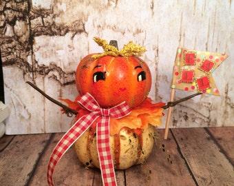 Pumpkin doll pumpkin centerpiece art doll vintage retro inspired fall decor autumn decor orange brown yellow anthropomorphic party decor