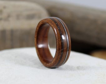 Wood Ring, Rosewood with Guitar String & Meteorite, Mens Wood Rings, Womens Wood Rings, Wood Engagement Ring, Wood Wedding Bands, Wood Rings