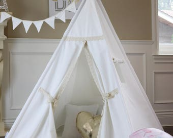 Lace Teepee Package with Poles, Cushioned Mat, LED Light,Flags,  Kids Teepee, Play Tent,  Teepee Tent, Tipi, Playhouse, Kids Room Decor