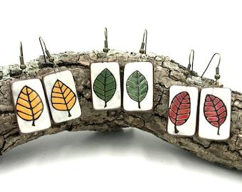 Handmade Ceramic Leaf Earrings