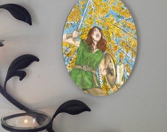 Aspen Card Warrior Woman, Oval Tile Wall Hanging