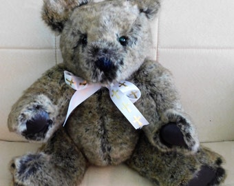 """SALE Handcrafted Teddy Bear from Faux Fur Jacket 18"""" Tall"""