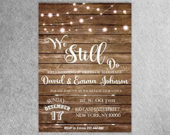 Light bulbs invite etsy vow renewal invitation wedding anniversary invitations we still do invite rustic string lights stopboris Images