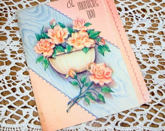 Vintage Mother's Day Card, Pink, Blue, Mid Century Greeting Card (111-14)