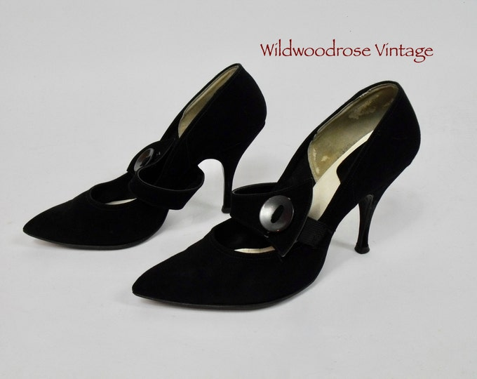 Vintage Black Suede Pumps - Pointy Toe - Mary Jane Strap with Button - Witch Heels - Retro Stilettos - Pin Up Shoes - Imperial's - Size 8