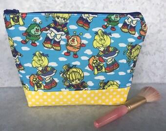 Rainbow Brite 80s girl Retro Cotton fabric Makeup Bag Cosmetic Bag Pencil Pouch Stars Sprite Makeup Zipper Purse Gift