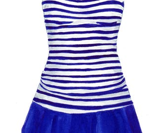 Blue And White Skirted Swimsuit Ready To Frame Print