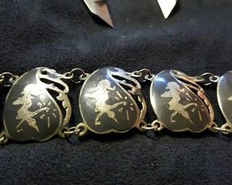 Vintage Siamese Sterling Silver Bracelet, Silver Neillo Bracelet, Old Asian Silver Bracelet