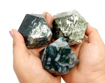 Green Moss Agate Cuboctahedron - Reiki - Metaphysical -  (RK111B9)